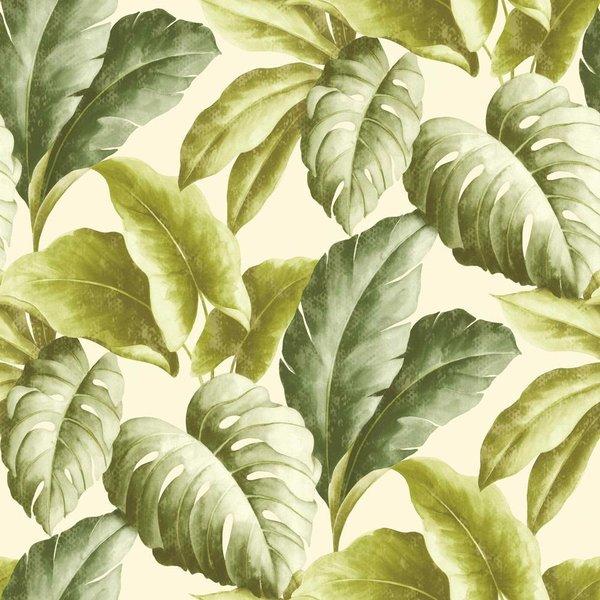 Dutch Wallcoverings Botanical Bladeren groen/wit