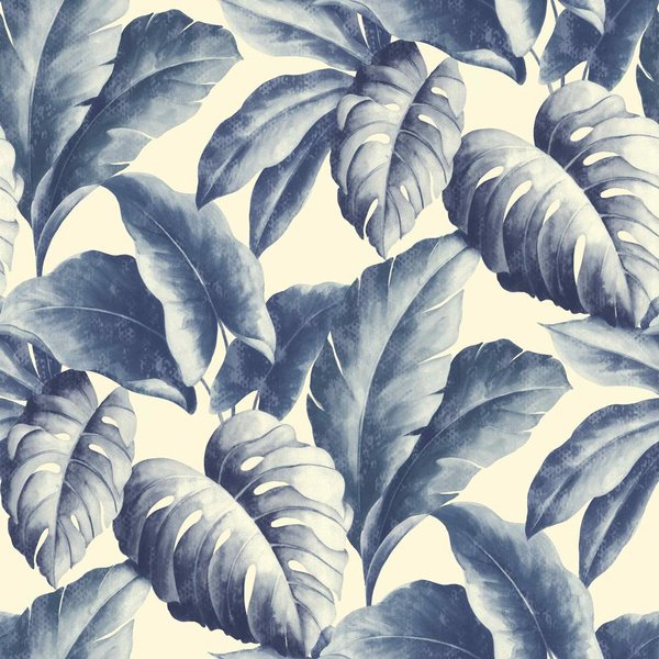 Botanical Bladeren blauw/wit