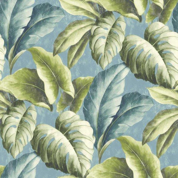 Botanical Bladeren groen/blauw