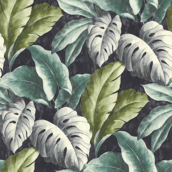 Dutch Wallcoverings Botanical Bladeren donker blauw/groen