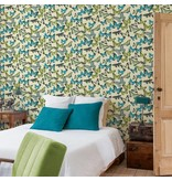 Dutch Wallcoverings Bontanical Vlinders beige/blauw/groen BA2602