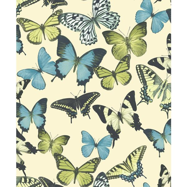 Dutch Wallcoverings Botanical Vlinders beige/blauw/groen