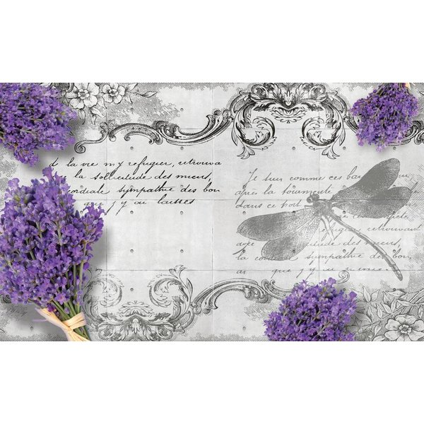 Dutch Wallcoverings Fotobehang Lavendel & Tekst