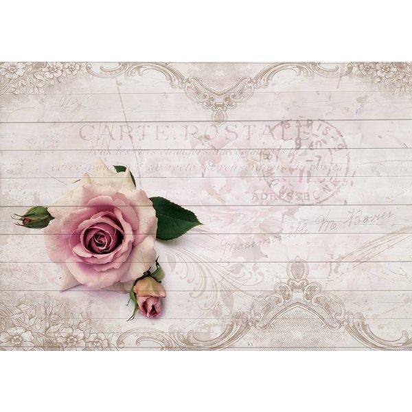 Dutch Wallcoverings Fotobehang Roze roos op sloophout