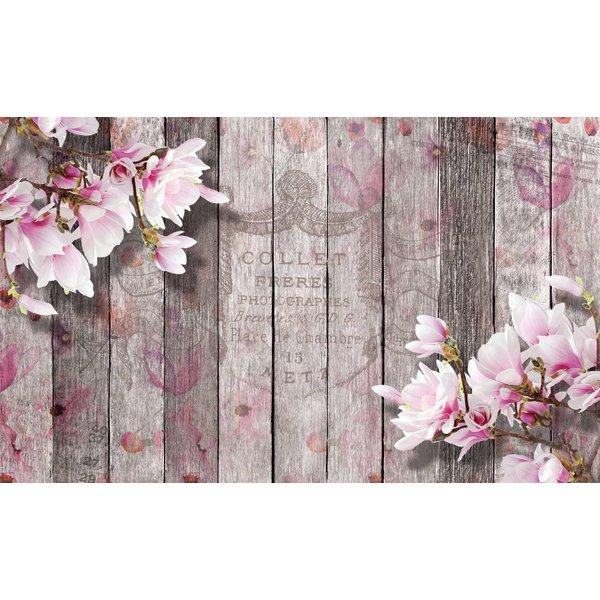 Dutch Wallcoverings Fotobehang Bloemen op sloophout