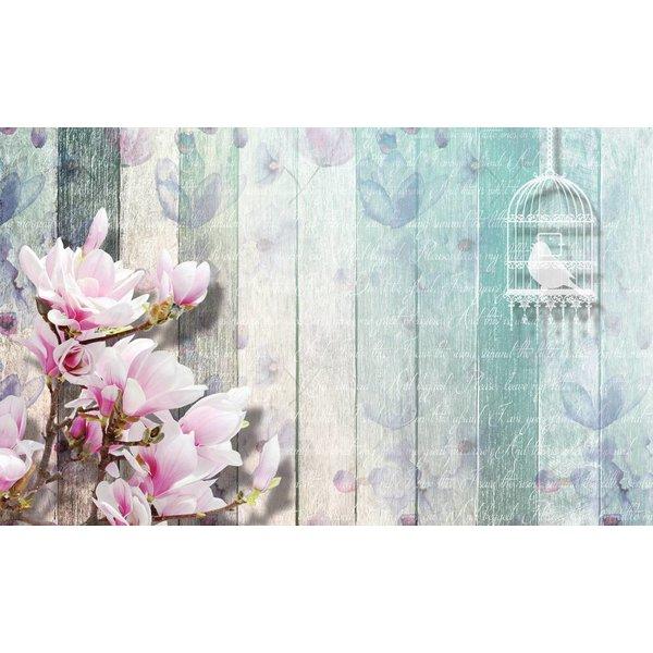 Dutch Wallcoverings Fotobehang Bloemen op blauw sloophout