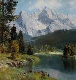 E. Winning (Maler des 19. / 20. Jhdt.) » Öl-Gemälde Alpen Landschaft süddeutsche Malerei