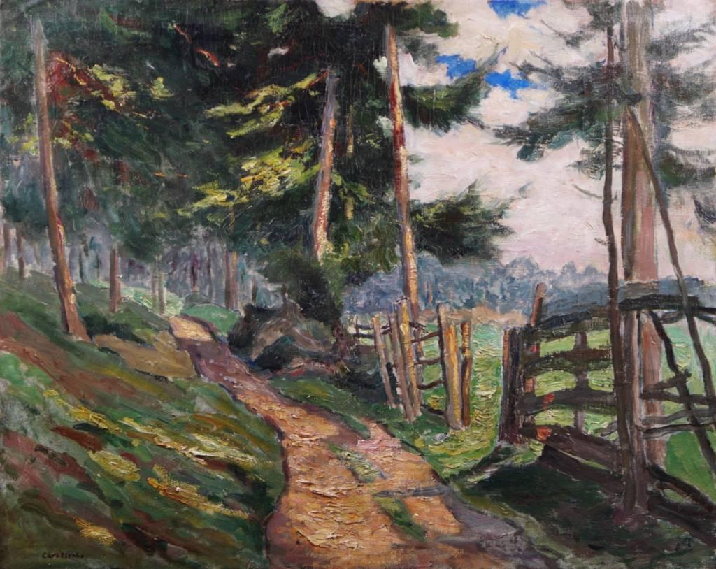 Carl Piepho (1869 - 1920) » Öl-Gemälde Postimpressionismus Alpen Landschaft süddeutsche Malerei