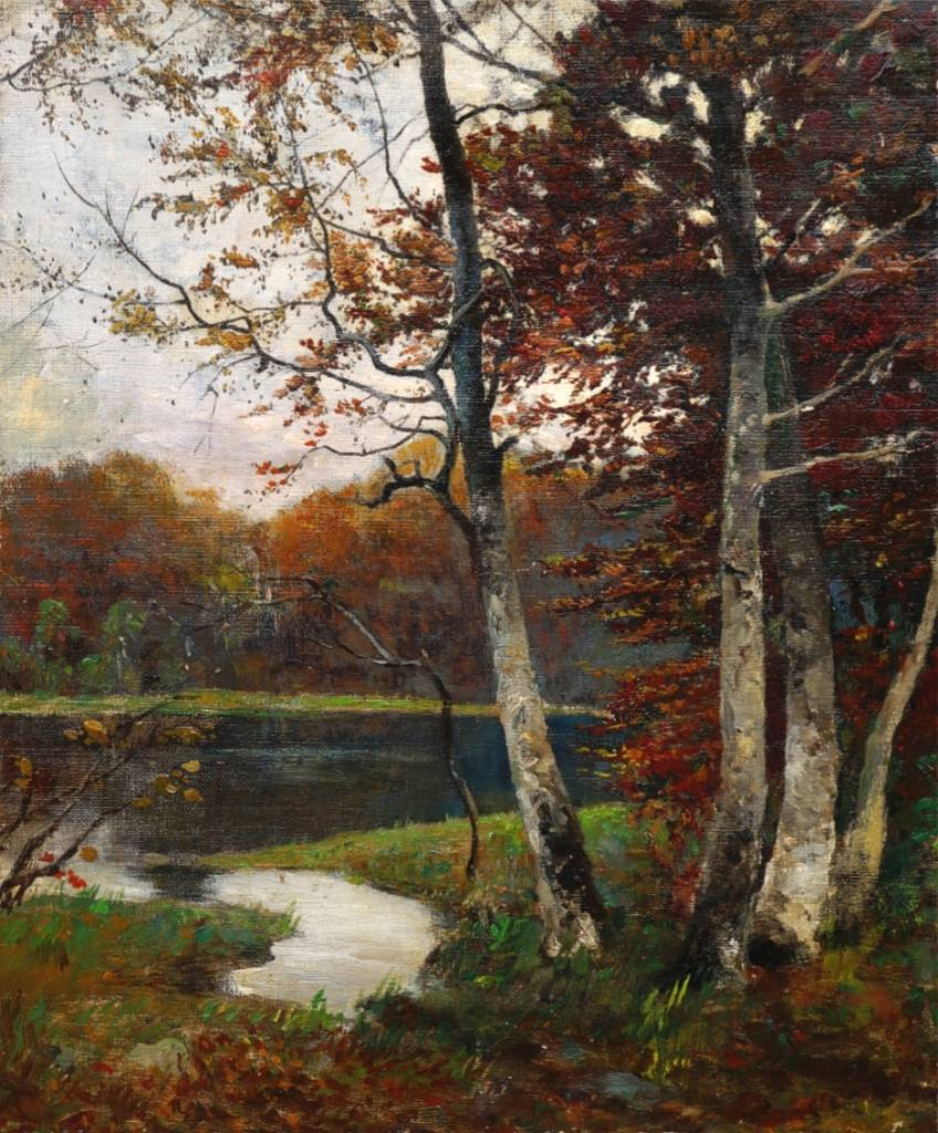 Maler des 19. Jahrhunderts » Öl-Gemälde Impressionismus Berliner Wald-See