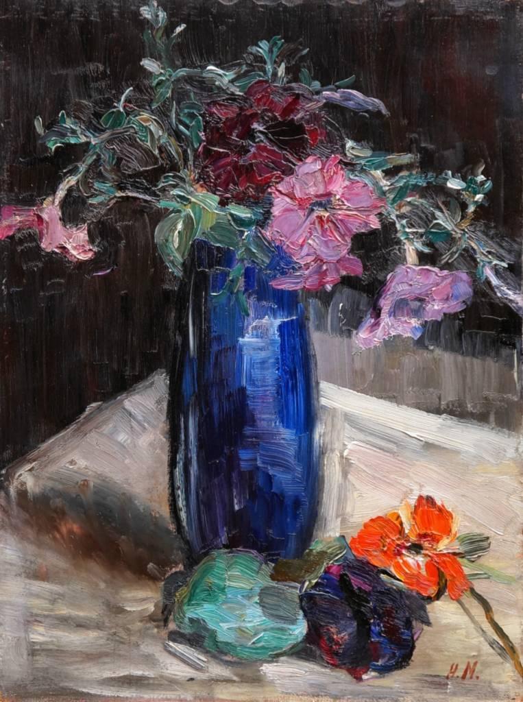 Hertha Mackensen (1884 - 1949) » Öl-Gemälde Impressionismus Blumen Stillleben Worpsweder Künstlerkolonie