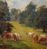 Richard Heymann (1900 - 1973) » Öl-Gemälde Impressionismus Kühe Tiermalerei Süddeutsche Malerei