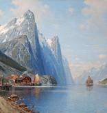 Carl Bertold (*1870) » Öl-Gemälde Meer nordische Fjordlandschaft