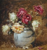 Arthur Feudel (1857 - 1929) » Öl-Gemälde Blumen Stillleben Rosen Impressionismus um 1900