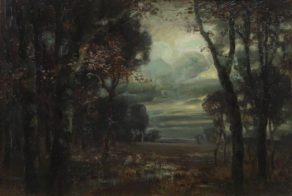 Emmy Lischke (1860 - 1919) » Öl-Gemälde Jugendstil Secession Mond Nacht Landschaft