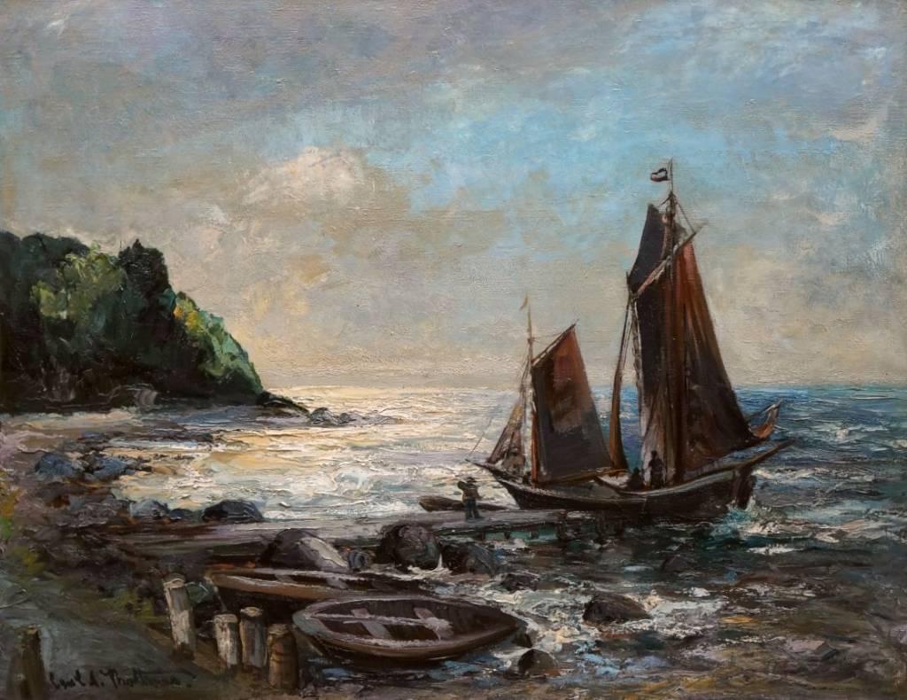 Carl Adolf Korthaus (1879 - 1956) » Öl-Gemälde Postimpressionismus Meer Landschaft