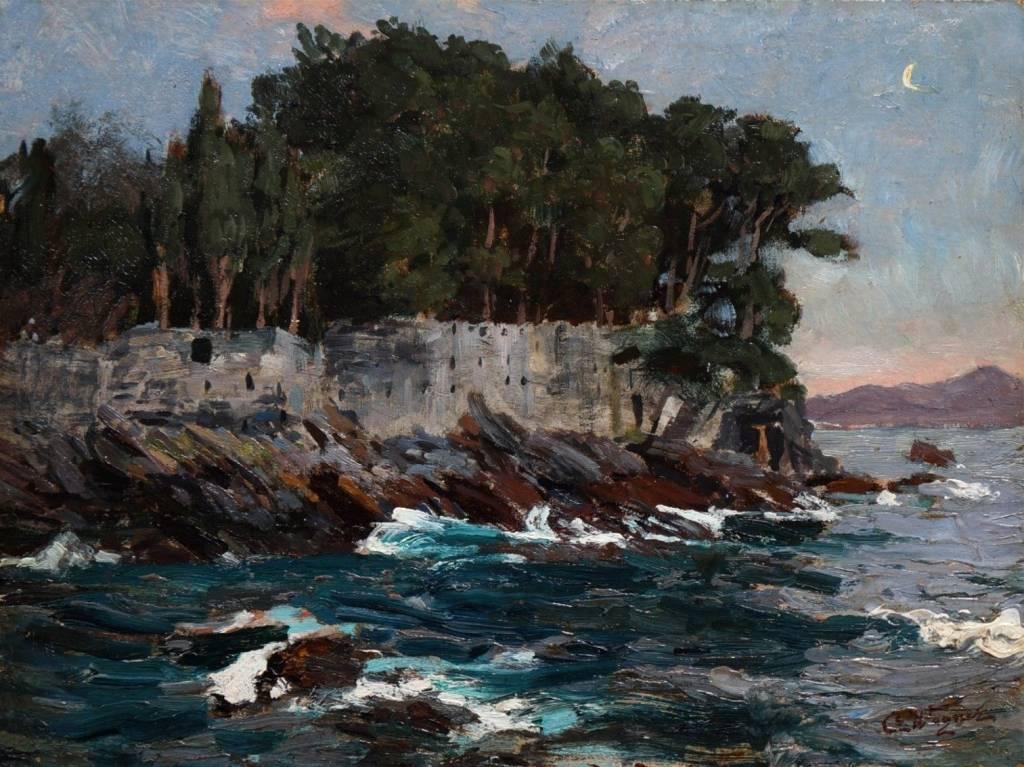 Cornelius Wagner (1870 - 1956) » Öl-Gemälde Impressionismus Meer mediterrane Küstenlandschaft