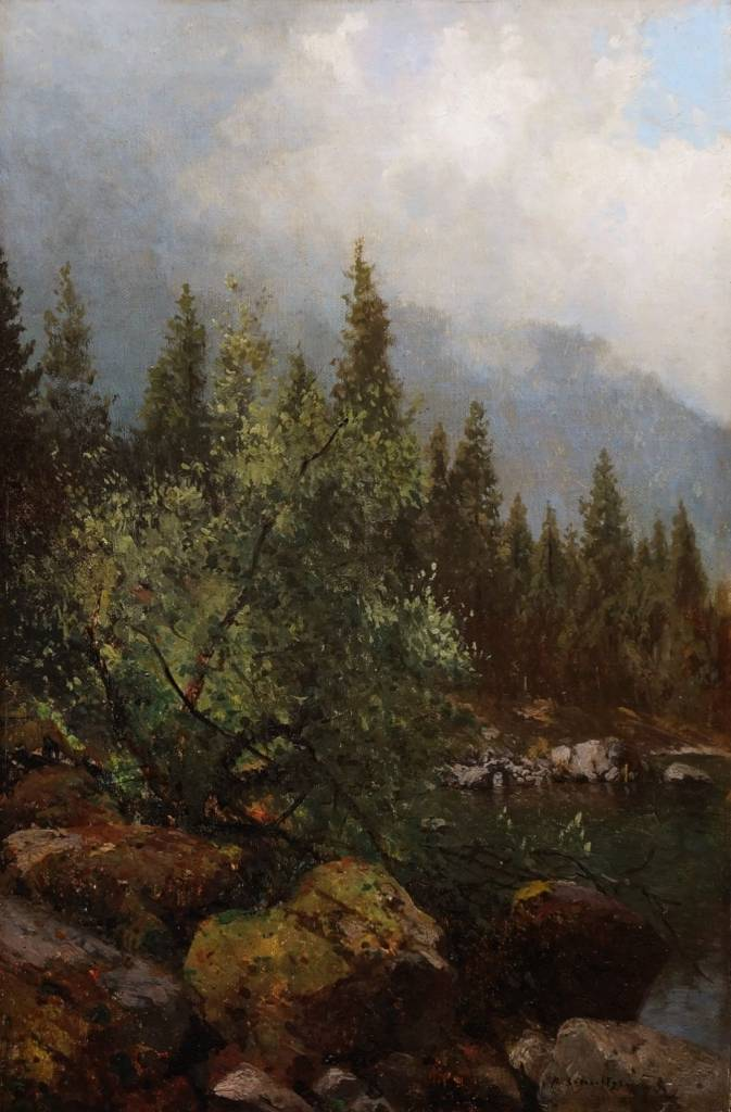 Robert Schultze (1828 - 1910) » Öl-Gemälde Realismus Alpen Landschaft Düsseldorfer Malerschule süddeutsche Malerei