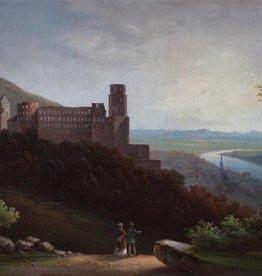 Ölgemälde alt Romantik Biedermeier Schloss Heidelberg  um 1820