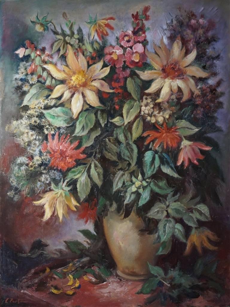 Carl Theodor Protzen (1887-1956) » Öl-Gemälde Blumen-Stillleben