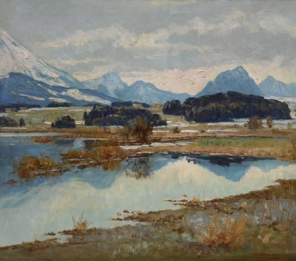 Paul Johann Walch (1881 - 1958) » Öl-Gemälde süddeutsche Malerei Voralpenlandschaft