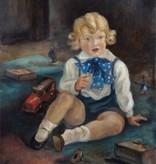 Maler des 20. Jahrhunderts » Öl-Gemälde Neue Sachlichkeit Kinderporträt