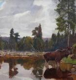 Ernst Otto (1866 - 1927) » Öl-Gemälde Tiermalerei Landschaft