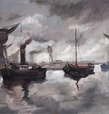 Émile Lammers (1914 - 1990) » Öl-Gemälde Hafenansicht