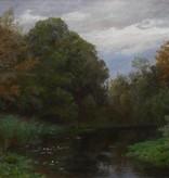 Julius Victor Carstens (1849 - 1908) » Öl-Gemälde Naturalismus Wald Landschaft