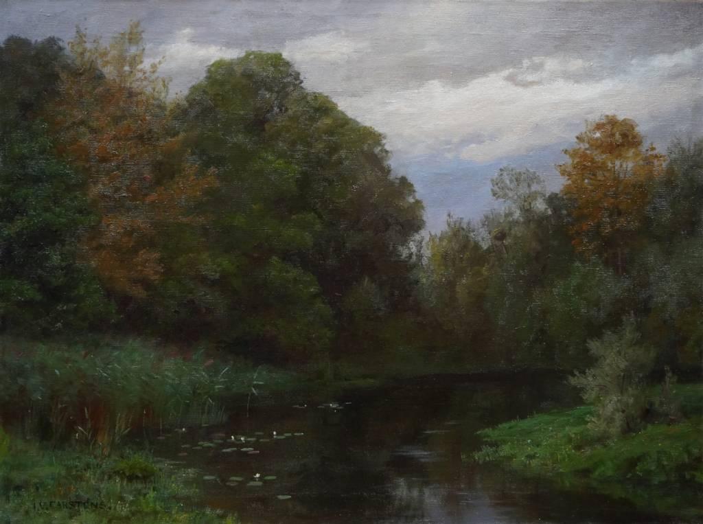 Julius Victor Carstens (1849 - 1908) » Öl-Gemälde Wald Landschaft