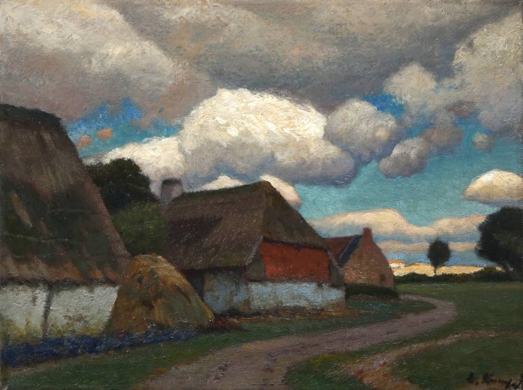 "Eugen Kampf (1861 - 1933) » Öl-Gemälde ""Flandrische Landschaft"""