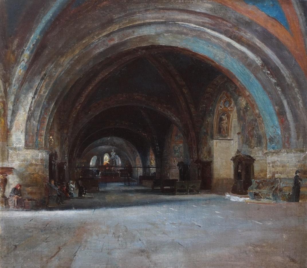 Curt Stoeving (1863 - 1939) zugeschr. » Öl-Gemälde Kircheninnenraum