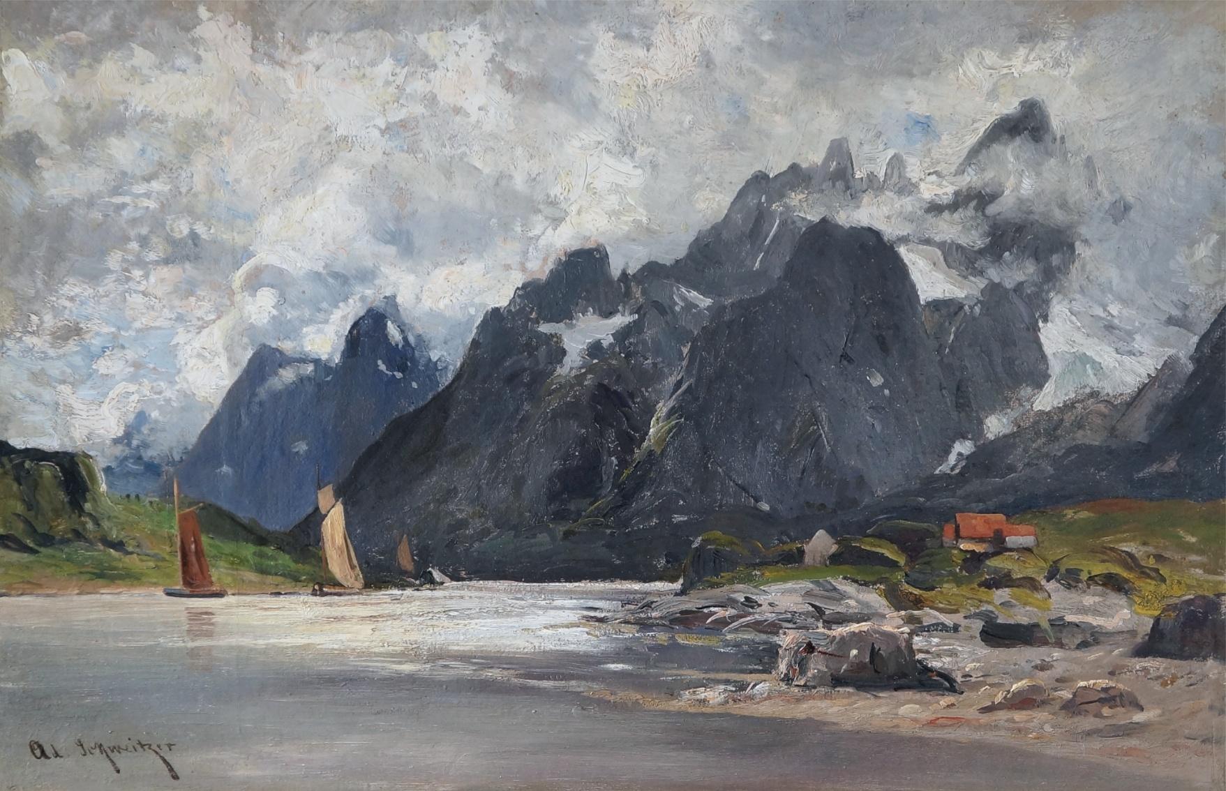 Gustav Adolf Schweitzer (1847 - 1914) » Öl-Gemälde Fjord norwegische Landschaft