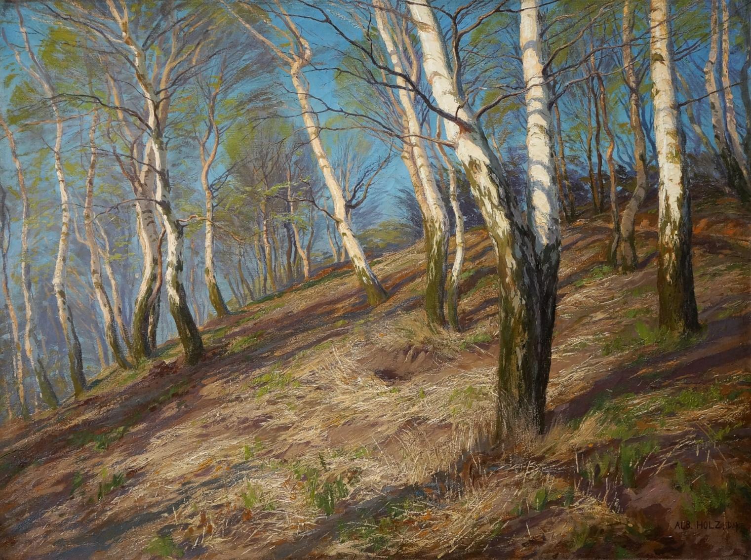 Albert Holz (1884 - 1954) » Öl-Gemälde Naturalismus Jugendstil Landschaft Düsseldorfer Malerschule