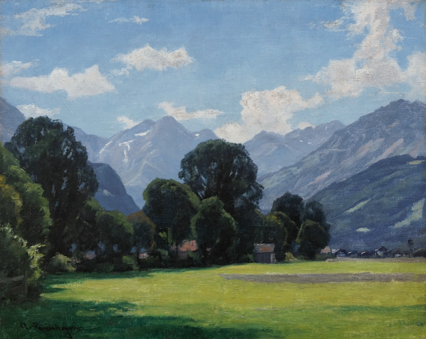 Alfred Rasenberger (1885 - 1948) » Öl-Gemälde Impressionismus Düsseldorfer Malerschule Alpen Landschaft