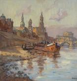 Rudolf Poeschmann (1872 - 1954) » Öl-Gemälde Postimpressionismus Schloss Stadtansicht Dresden