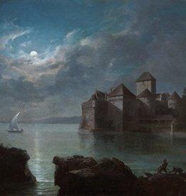 Arnold Jenny (1831 - 1881) » Öl-Gemälde Spätromantik Schloss Burg Mondschein nächtliche Landschaft