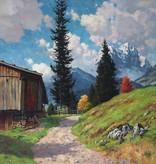 Carl Schaette (1884 - 1951) » Öl-Gemälde Impressionismus Alpen Landschaft süddeutsche Malerei