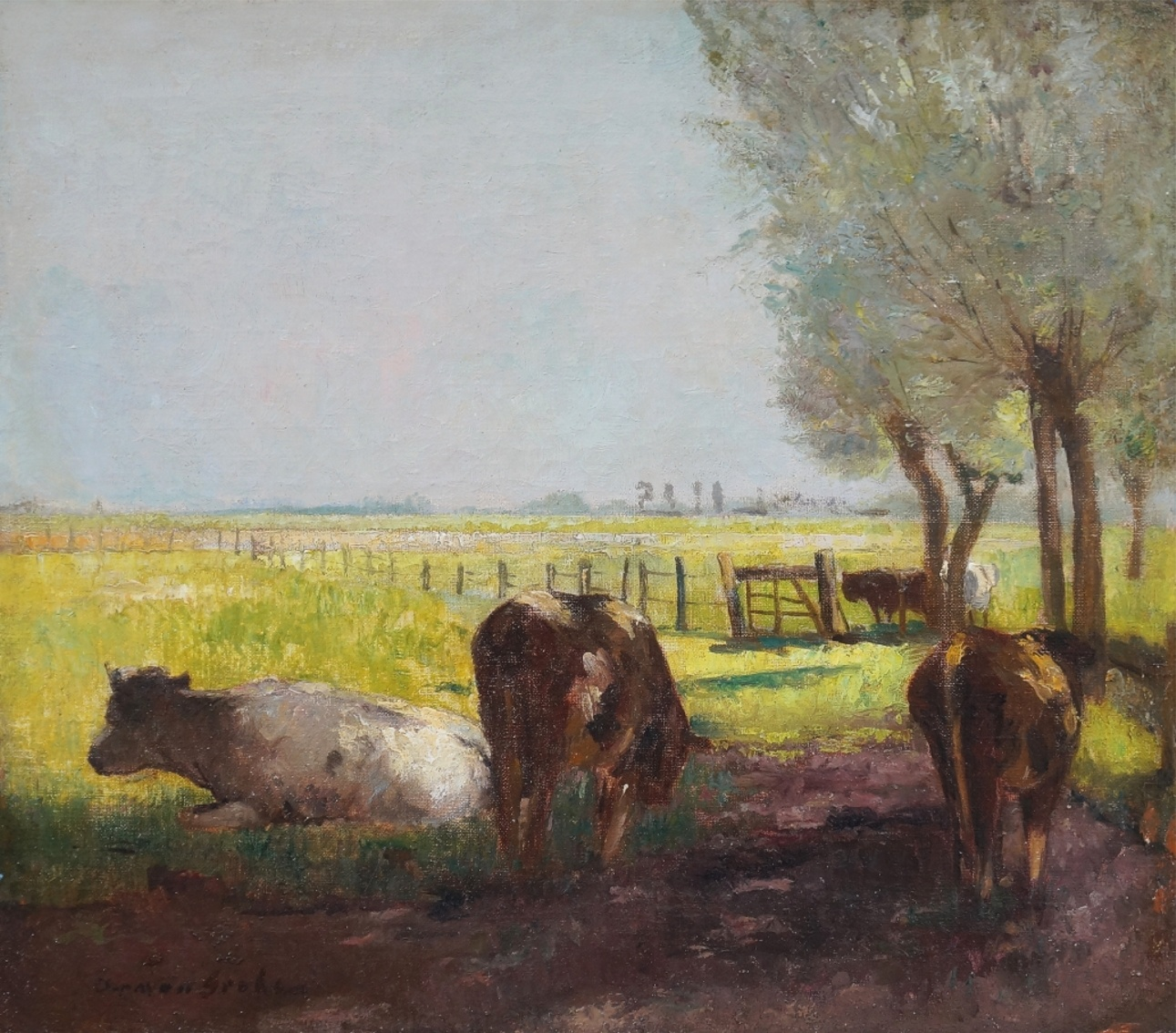 German Grobe (1857 - 1938) » Öl-Gemälde Impressionismus Düsseldorfer Malerschule