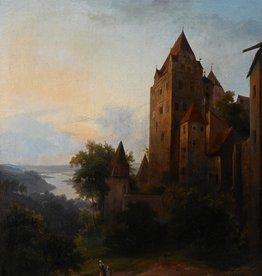 Maler des 19. Jahrhunderts » Öl-Gemälde Romantik Biedermeier Burg Schloss Landschaft süddeutsche Malerei