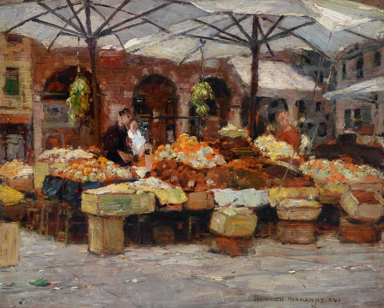 Heinrich Hermanns (1862 - 1942) » Öl-Gemälde Impressionismus Düsseldorfer Malerschule