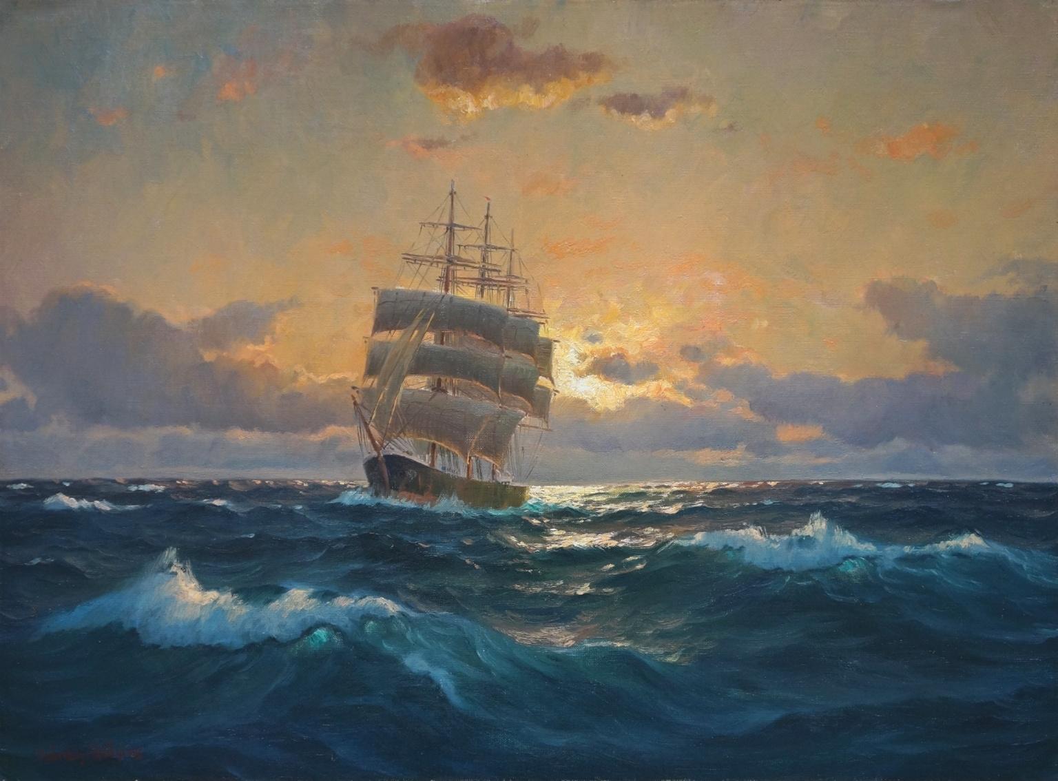 Martin Franz Glüsing (1885 - 1956) » Öl-Gemälde norddeutsche Marinemalerei