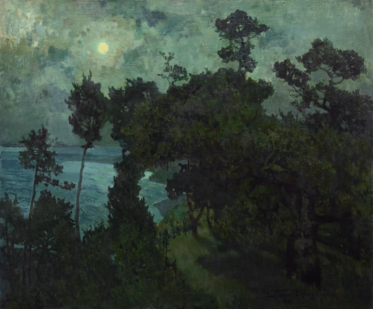 Carl Kayser-Eichberg (1873 - 1964) » Öl-Gemälde Impressionismus Jugendstil Meer Mond nächtliche Küstenlandschaft Italien