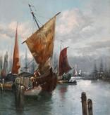 A. Villon (Maler des 19. Jahrhunderts) » Öl-Gemälde Hafenansicht Marinemalerei