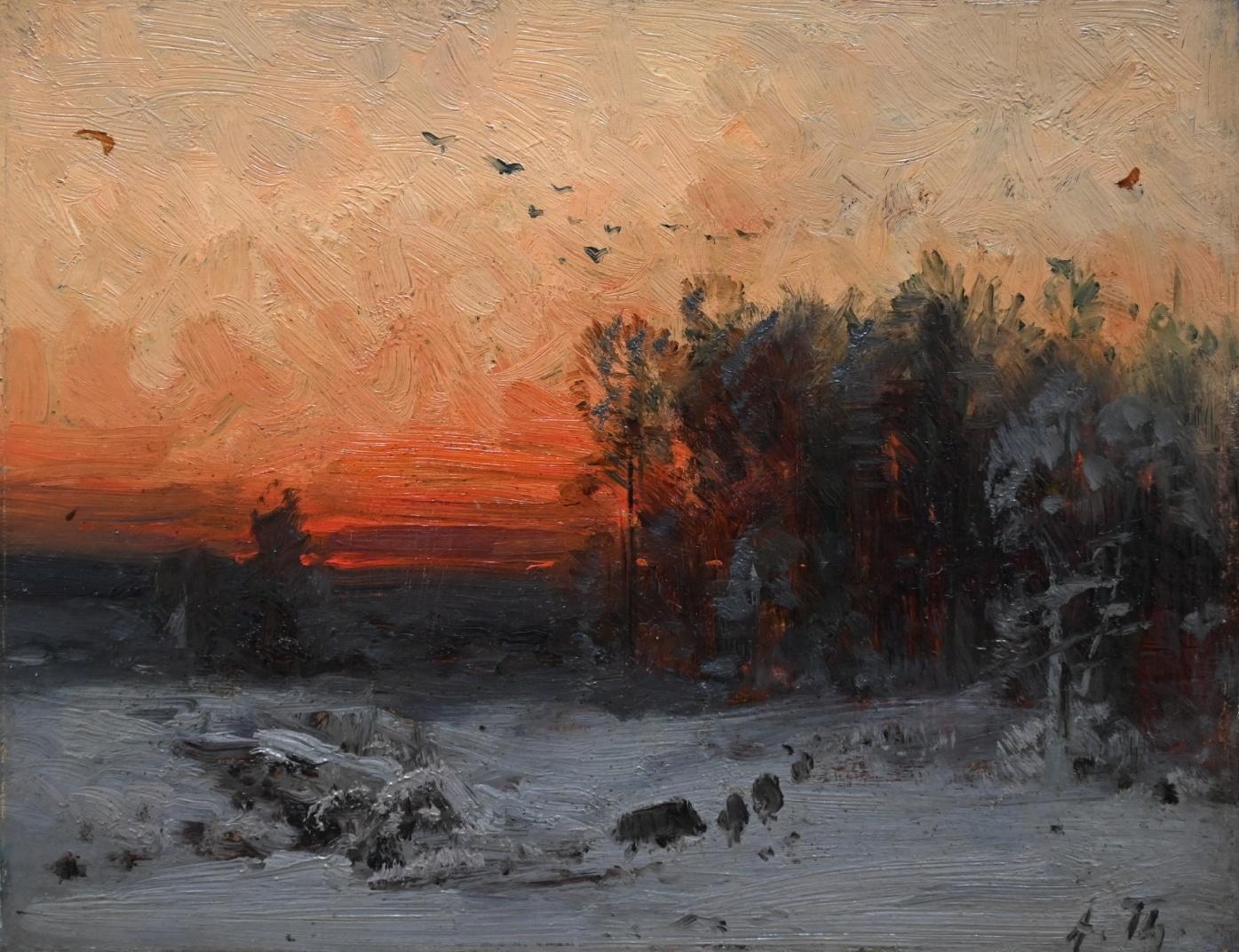 Arthur Thiele (1841 - 1919) » Öl-Gemälde Impressionismus Winter Wald Landschaft