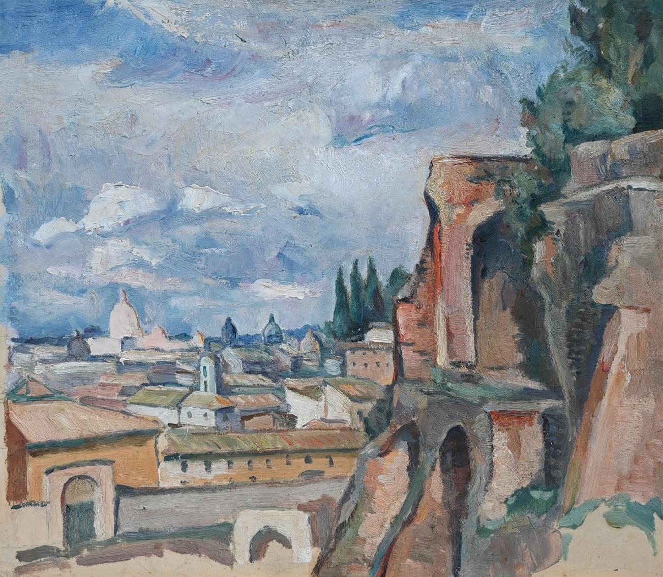 Maler des 20. Jahrhundert » Öl-Gemälde Postimpressionismus École Paris italienische Stadtansicht Rom antike Architektur