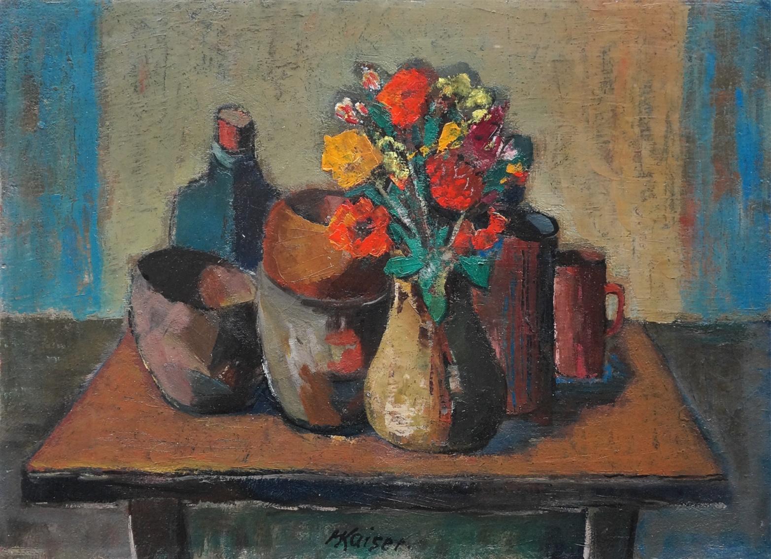 Hans Kaiser (1914 - 1982) » Öl-Gemälde Expressionismus Expressiver Realismus Stillleben