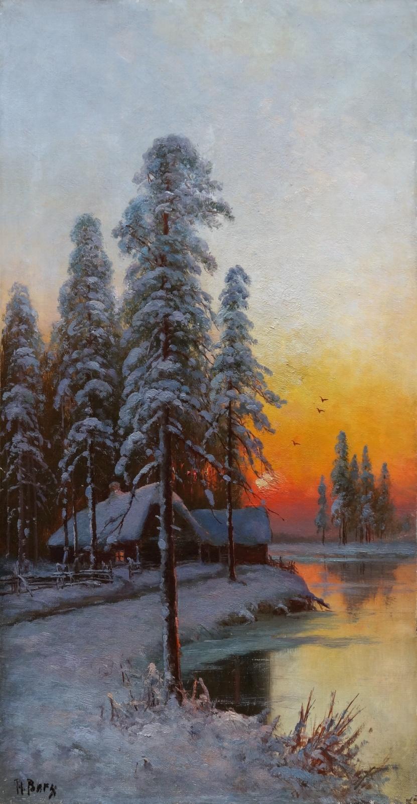 Russischer Maler des 19. Jahrhunderts » Öl-Gemälde Winter Landschaft