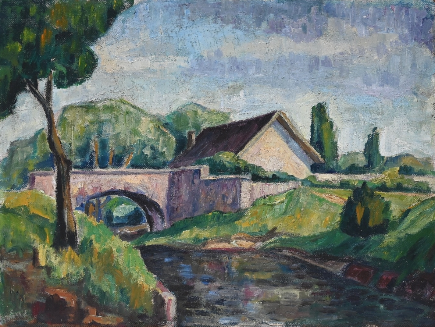 Fritz Laible (1931 - 2016) » Öl-Gemälde Postimpressionismus Expressionismus Landschaft