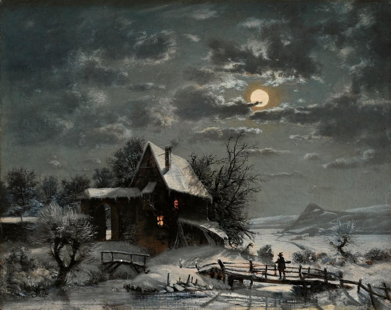 Wilhelm Jett (*1846) » Öl-Gemälde Romantik Biedermeier Winter Mond Landschaft ~1880
