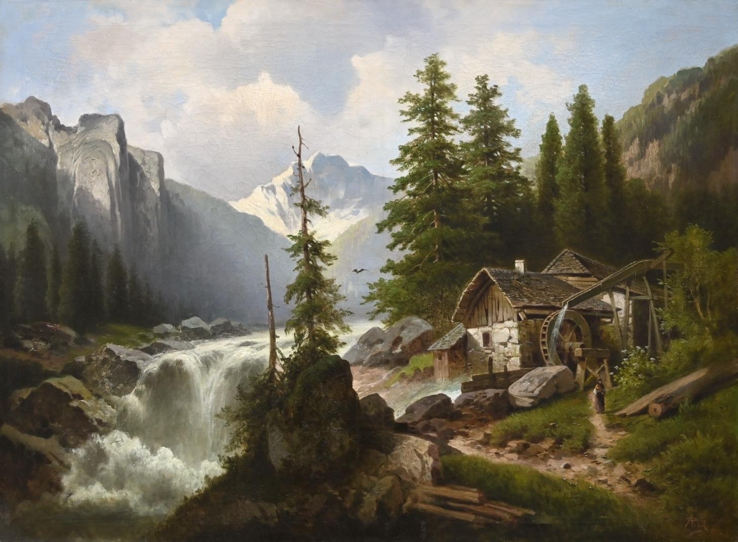 Anton Pick (1840 - nach 1902) » Öl-Gemälde Spätromantik Österreich Alpen Landschaft